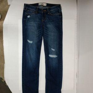 Hollister ripped jeans sz 3 26x31 skinny distress